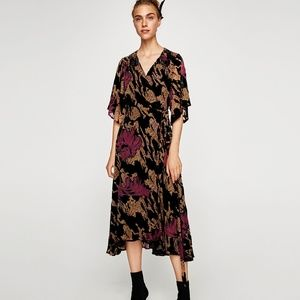 Zara Devore velvet midi dress